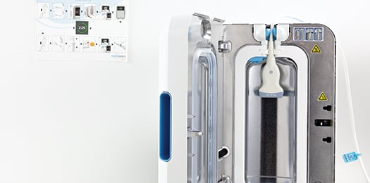 Open trophon2 demonstrating High-Level disinfection that meets HLD guidelines.