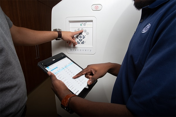 GE Healthcare's remote engineers will diagnose the issue with the system and either fix it remotely or schedule an appointment for on-site service.