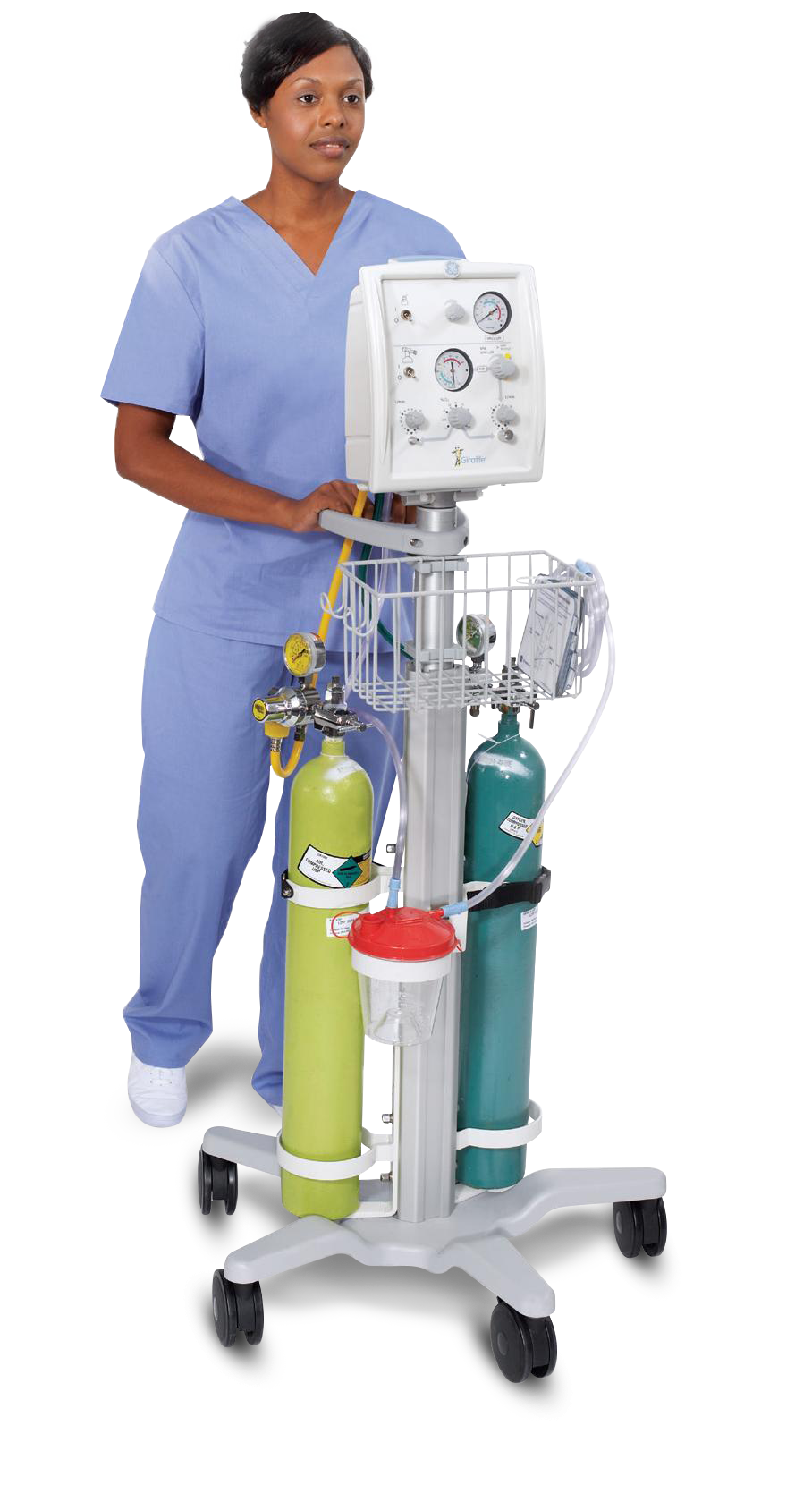 Nurse with Giraffe Stand-alone Infant Resuscitation System.